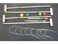 4 Player Wooden Croquet Set Holiday Fun Camping