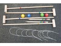4 Player Wooden Croquet Set .. Great for Summer