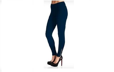Women's Comfy Leggings with Zipper Ankle Design Navy Footless Cotton Pants Med Comfy Footless Leggings