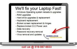 Repair services for all laptops  & Apple Mac