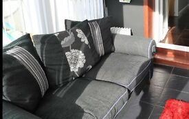 Black/grey fabric 2 seater couch with scatter cushions