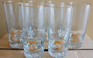 Set of 6 Vintage 1988 Olympics Collectible Glasses 22k Gold