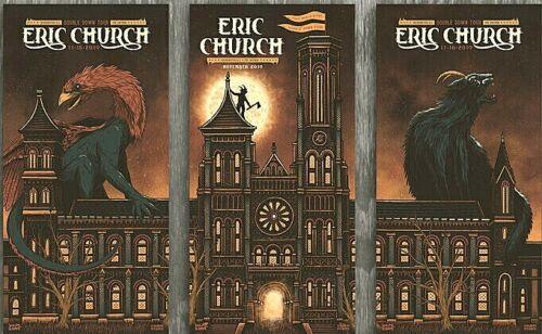 Eric Church Washington DC 2019 AP Set of 3 Poster Prints S/N #/50 luke martin