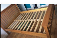 Light pine shaker style solid double bed