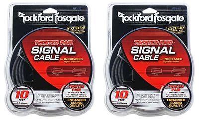 (2) Rockford Fosgate RFI-10 RFI10 10 Foot Twisted Pair OFC Car Audio RCA Cables