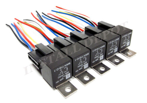 (10 pc) 12 VOLT 60 AMP BOSCH STYLE RELAYS & SOCKETS CAR WIRING SPDT RELAY 60A