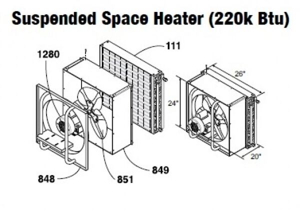 Central Boiler Suspended Space Heater (220k Btu)