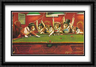 Dogs Playing Pool 2x Matted 40x28 Framed Art Print by Cassius Marcellus -