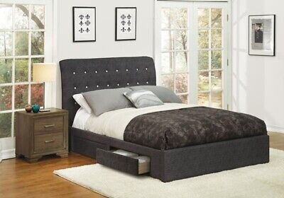 Sleek Style Dark Gray 1pc Eastern King Size Contemporary Bed Bedroom -