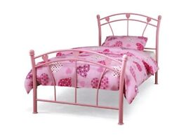 Girls pink metal heart bedframe c/w mattress, immaculate condition as only used twice!!