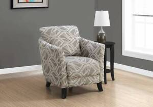 CLEARANCE OVERSTOCK SALE ACCENT CHAIR - TAUPE LEAF DESIGN FABRIC