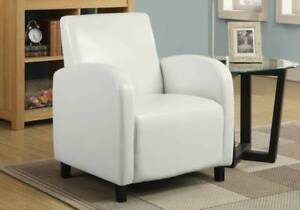 ACCENT CHAIR - WHITE LEATHER-LOOK FABRIC