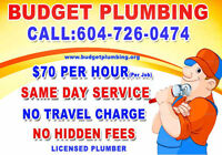 Budget  Plumbing ** Licensed Plumber ** $70 / Hour No Travel Fee
