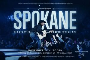 1 TICKET GARTH BROOKS 11/11 7:30PM SPOKANE ARENA