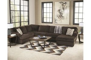 Big brown sectional w/ matching ottoman