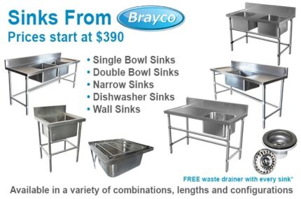 STAINLESS STEEL SINKS AND HANDBASINS FROM $89.00