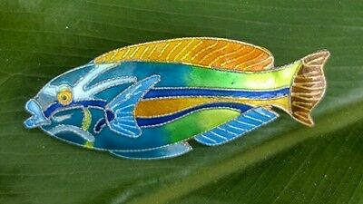 Zarah Sterling Silver 925 Enamel Tropical Fish Pin Brooch