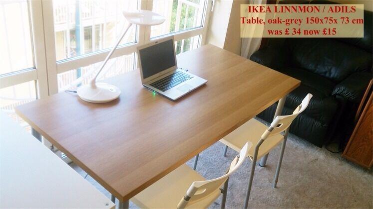 Less than half price ikea linnmon adils big table oak grey