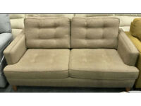 Beige fabric 2 seater sofa