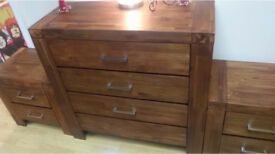 Solid Wood 4 Drawer Chest and Bedside Tables x2