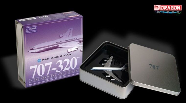 RARE Dragon Wings #55718 PAN AMERICAN Boeing 707-320 1:400 Die-Cast Scale Model in an exclusive tin