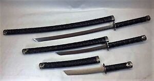 set of 3 Japanese Samurai Katana Sword Set Ninja