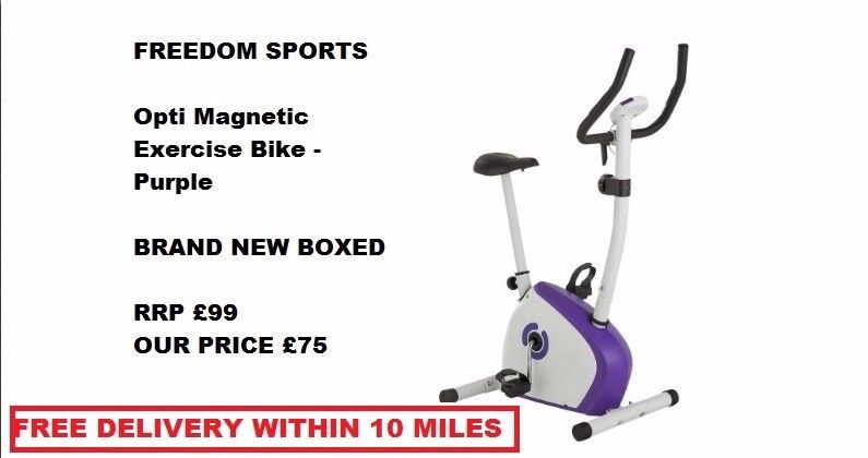 Opti Magnetic Exercise Bike - Purple brand new boxed FREE DELIVERY WITHIN 10 MILES