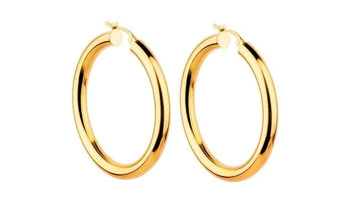 Eternity Gold Essential Hoop Earrings in 10K Gold Plated Solid Sterling Silver Fine Earrings