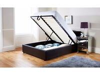 """LIMITED OFFER ENDING SOON""BLACK / BROWN OTTOMAN STORAGE BED WITH SEMI ORTHOPEDIC MATTRESS"