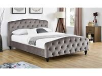 Grey Fabric Kingsize Bedframe - Brand New - Chesterfield style