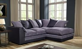 """BYRON 3 SEATER & 2 SEATER SOFAS """""""" BROWN/BEIGE & BLACK/GREY AVAILABLE IN CORNER AS WELL"""