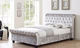 BRAND NEW DOUBLE OR KING CRUSHED VELVET SLEIGH DESIGNER BED FRAME WITH MATTRESS
