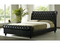 Elegant Chesterfield Style Sleigh Bed - Kingsize (5FT) - Black