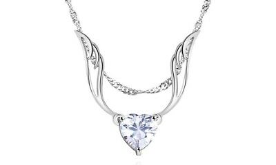 18K White Gold Plated ANGEL WING HEART NECKLACE with Swarovski Crystal (Crystal Heart Angel Wing)
