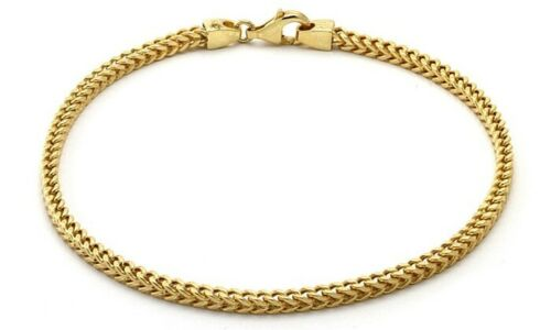 Real 10K Yellow Gold Hollow Franco Box Link Bracelet/Anklet 2.0mm, Lobster Clasp