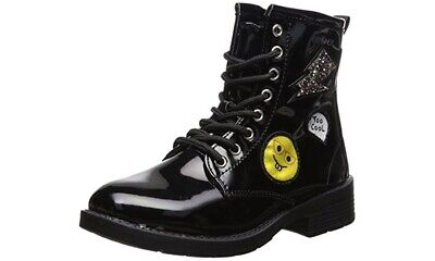 New bebe Girls Patent Combat Boots with Patches size 3