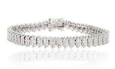 "18K White Gold Plated Fashion Tennis Bracelet 7.25"" With a Diamond Accent & Box"