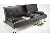 Click Clack 3 Seater Leather Sofa Bed Settee with Cup Holder- Brand New