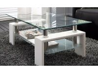 Clear Glass & White Modern Rectangle Glass & Chrome Living Room Coffee Table