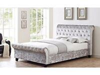 New Double / King Crushed Velvet Sleigh Designer Bed in Silver, Champagne OR Black