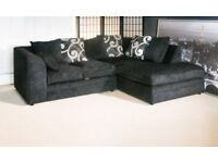 BRAND NEW R/H CORNER SOFA IN' BLACK CHENILLE FABRIC ALL OVER'....ONLY £259.99