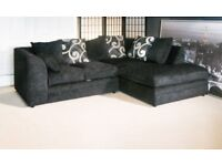 BRAND NEW R/H BLACK ZINA CORNER SOFA WITH FOAM CUSHIONS...ONLY £259.99