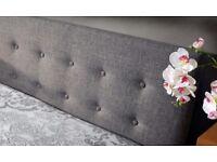 Grey linen King bed frame