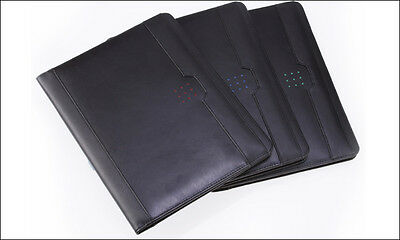 New Norwood Black Leather Padfolio Letterpad With Ruled Writing Pad Blackred