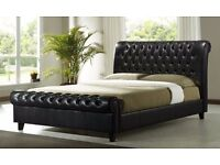 Brand new chesterfield style low foot end Leather sleigh bed - Double - 4FT6 - BLACK