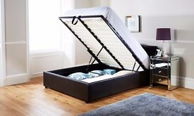 Free Delivery-Double Ottoman Storage Gas Lift Leather Bed With Memory Foam Ortho Mattress £239