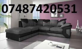 LUXURY BLACK/GREY DINO CORNER SOFA £399