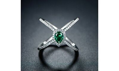 Created Emerald Cross - Lab Created Emerald Cross-over Ring Size 7