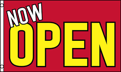Now Open Red Yellow Advertising Flag 3x5 Ft Sign Grand Opening New Business