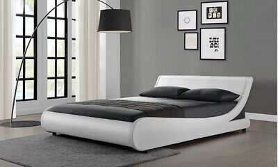 Curved modern white faux leather bed frame king size, no mattress, secondhand